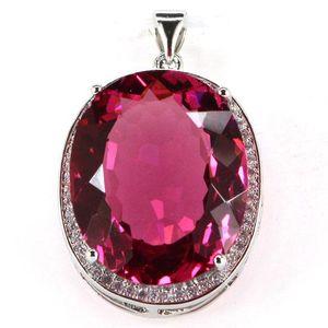 Grandi Gems 22x18mm Creato Tormalina Rosa, Bianco 25x20mm CZ SheCrown signore Engagement pendente d'argento