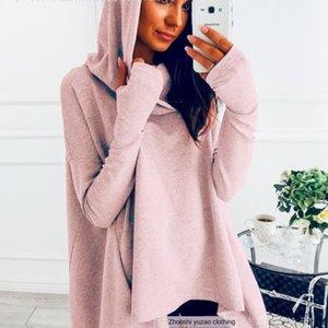 Super ma I tongya ma Xun novo sólido ocasional cor de manga comprida irregular camisola com capuz sweatersweater 157