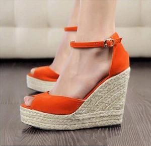 Plus Size Bohemian Frauen Sandalen Riemchen Stroh-Plattform zwängt Für Damen Schuhe Flock-Absatz-Abdeckung Heel Sandale