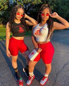 Womens letra impressa Bodycon Two Piece Set Cortar 2020 Top + bicicleta Shorts Casual Sportswear Treino 2 peça Outfits