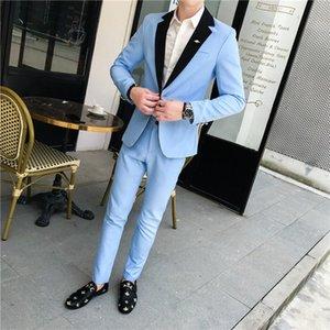 La última luz de Mens traje rosa / azul adaptan a los juegos de la boda para la ceremonia de graduación chaquetas de hombres jóvenes con muescas solapas hombres' 2 piezas