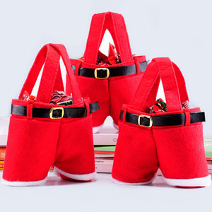 Christmas Gifts Handbag Tote Small Candy Bags Funny Santa Claus Pants Shaped 13cm Bag for Children Kids Party Decoration