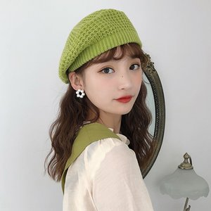 2019 autumn women's new Painter's hat beret Korean knitted beret artistic British fashion painter hat