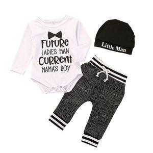 Kids Boys Clothing Sets Long Sleeve Letter Print Romper + Pants + Hat 3pcs set Autumn Baby Outfits Fashion Infants Clothes