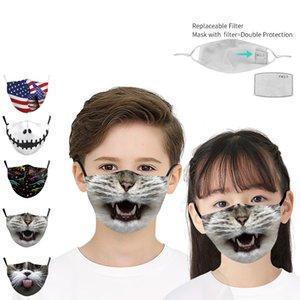 Yüz Filtre Koruyucu kulak askısı Yüz Kapaklı Baskı toz geçirmez Yüz Maskesi Çocuklar Çocuk Yıkanabilir toz geçirmez Straw Maskeler Maske yazdır