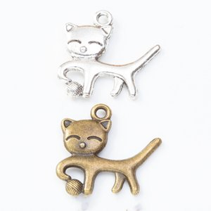 100pcs 20*18MM Antique silver color animal kitten cat charms vintage pendants for bracelet earring necklace diy jewelry making