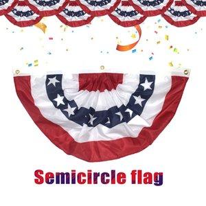 90 * 45CM EUA plissadas Semicircunferência Metade Fan Flag Impresso American Star and Stripes Latão Buckle Grommets bandeira Bunting Decoração LJJP159