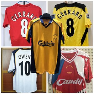 retro do futebol jerseys Gerrard Alonso OWEN Cisse Garcia Finnan Carragher final de Istambul 2001 02 03 2004 2005 2006 camisa campeão de futebol