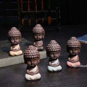 Decoração Home Tea Set bonito pequeno Buda Estátua Monk estatueta Mandala Chá Pet Resina Artesanato decorativas enfeites de cerâmica atacado