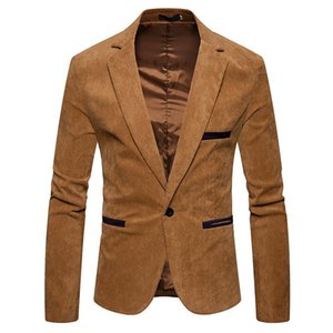 V Neck Long Sleeve Mens Corduroy Blazer Fashion Single Button Solid Color Mens Suits Jacket Spring Male Apparel