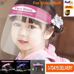 Stati Uniti Stock protezione Visiera bambini / adulti Chiaro Maschera di isolamento dei bambini Anti-Fog Full Face Visor trasparente Protezione evitare spruzzi