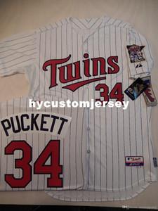 barato costume Majestic Minnesota Kirby Puckett # 34 Top JOGO Branco P / S Jersey NEW Mens costurados camisas grandes e tamanho Alto XS-6XL Venda