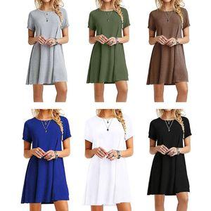 Женская Лето Плюс Размер Короткие рукава Midi Качели T-Shirt Dress Plain Solid Color Crew Neck Свободный Свободный пуловер Туники Топы