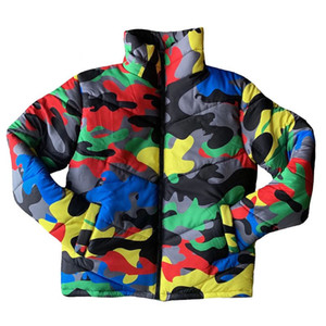 Women Men Winter Turtleneck Down Coat Colorful Camouflage Printed Puffer Jacket Warm Thicken Padded Full Zipper Outwear S-4XL
