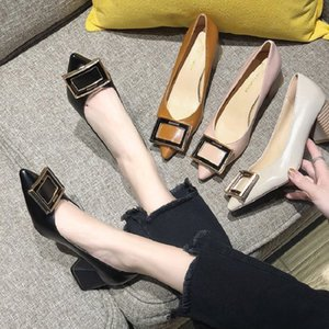 My-Love Square Heel 5 CM Pointed Toe Pumps Shoes Women Office Lady Leather Med Heels Work V Mouth Casual Shoes Spring Autumn