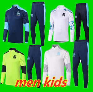 figli adulti kit Maillots de foot 2020 2021 Olympique Marsiglia Tute 20 21 Soccer Training Suit giacca PAYET BENEDETTO OM Survetemen