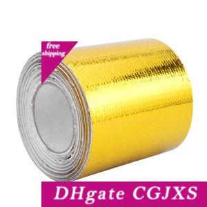 2 X 5 متر الحرارة درع مقاومة التفاف المقوى لاصق المدعومة العادم التفاف الذهب الحرارة التفاف مع 6PCS العلاقات