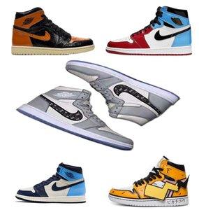 2020 altoretro NakeskinJordánAJ1 aj 1 Zapatillas de deporte de los hombres de las mujeres de calidad del aire vuelan Ba Chaussures baloncesto zapatillas de deporte Shattered