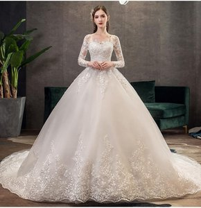 2021 New Vintage O Neck Full Sleeve Wedding Dress Illusion Simple Lace Embroidery Custom Made Bridal Gown Vestido De Noiva