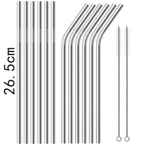 New 26.5cm Stainless Steel Straw Straight Straws Drinking Straw Straight and Curved Straw Free Shipping
