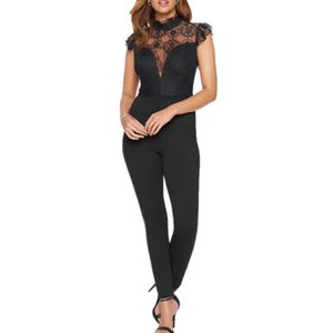 New Arrival Summer Fashion Sexy Black Lace Women Bandage Jumpsuit 2020 Celebrity Designer Fashion Rompers