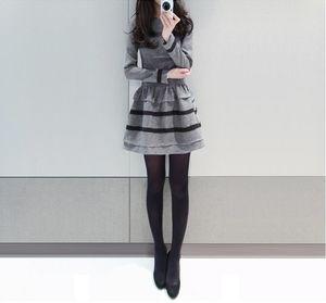 2020 NEW girls casual sexy dress autumn winter soft long sleeve dress lady Office working clothing black grey sizeXL #E284