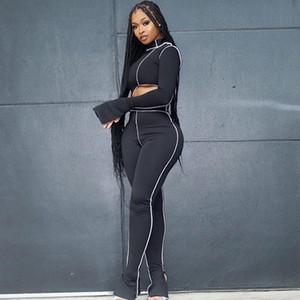 Spor Rahat Sportif Egzersiz Iki Parçalı Set Kadın Bodycon Patchwork Uzun Kollu Kıyafetler Asimetrik Üst ve Pantolon Setleri