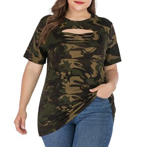 Plus Size Ripped Hollow Out Camouflage Printing Tees 3XL 4XL Women Summer Streetwear Lace Up Short Sleeve T-Shirts Tops