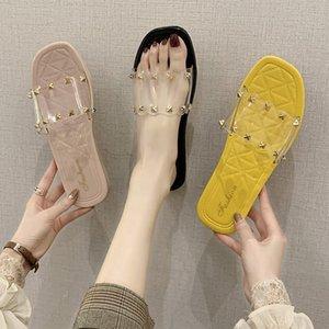 플라스틱 젤리 신발 리벳 패션 야외 크리스탈과 크리스탈 샌들 슬리퍼 여자 플랫 샌들