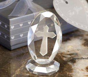 100pcs   lot Wedding Favor And Gift Choice Crystal Cross Standing Favors With Gift Box Crystal Wedding Favors SN942