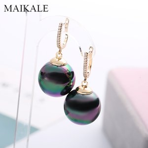 MAIKALE Fashion Red Black Pearl Earrings Zirconia Gold Silver Color Big Ball Earrings with Pearl Drop for Women Gifts