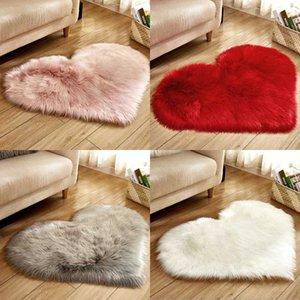 Yapay Yün Halı Aşk Kalp Şekli Kürk Kilimler Salon Yatak odası Yumuşak Mat Alan Halı Koyun postu Kıllı Kilim Shaggy Halı