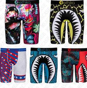 Tubarão Mens Quick Dry pugilistas longos Bottoms Underwear Luxo Pants Swimwear Shorts Calcinhas Sports Mar curtas Legging Cueca Masculino D72707