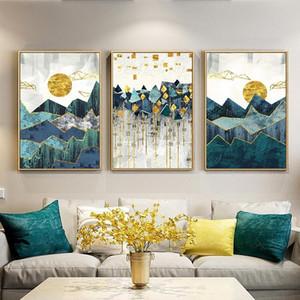 3 Paneller Nordic Özet Geometrik Dağ Golden Sun Manzara Duvar Sanatı Tuval Yağ Poste Duvar Resmi Odası Dekor Baskı Boyama