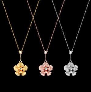 Spinning full diamond fan-shaped Flower Necklace Gold version women's multi skirt diamond necklace