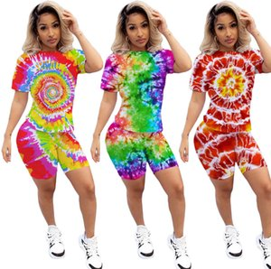 women s two piece shorts set fashion womens tie-dyed positioning printing short-sleeved T-shirt shorts sports suit S-XL
