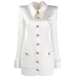 High Street 2020 Новый стильный конструктор женской одежды с длинным рукавом атласные Tweed Лоскутная Lion Кнопки платье