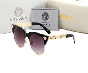 Frauen Designer-Sonnenbrille neue moderne Flat-Top-Sonnenbrille stilvoller Männer quadratische Gläser für Frauen arbeiten Jahrgang Versace
