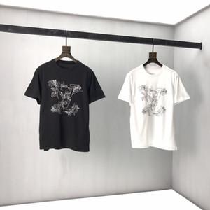 Primavera e casual verão alfabeto moda masculina asiáticos oversize imprimir estilo continental de alta qualidade selvagem top de algodão misturado base de grande dimensão