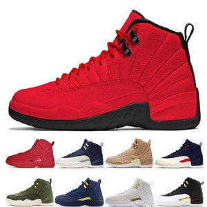 Calzini liberi e portachiavi Jumpman XII Palestra Red Vachetta Tan Navy Michigan scarpe da basket economici sport Mens formatori 12s Sneakers