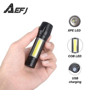 Flashlights Torches XPE COB Built-in Battery Powerful LED Flash Light Zoomable Tactical Lamp+USB Cable+Box