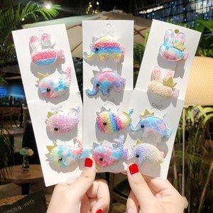 2PCS Set Children Cute Cartoon Elephant Whale Hairpins Sweet Headband For Girls Kids Headwear Fashion Hair Accessories