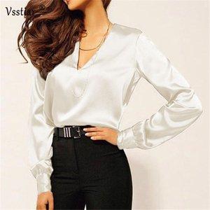 Vsstiar Silk Blouse Woman Shirts 2020 Plus Size Elegant Long Sleeve Office Satin Blouse Women Summer Tops Y200622