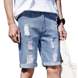 Mens New Casual Shorts Vêtements Ripped Blue Hole Court Jeans Pantalon Longueur genou Coton denim Jeans Shorts d'été