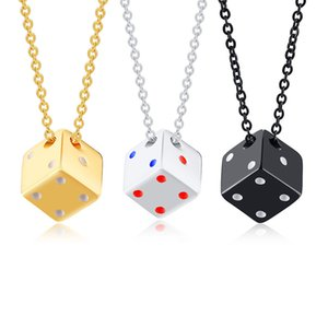 Hiphop stainless steel dice pendant male necklace run Jianghu ground stall source hip-hop jewelry PN-1313