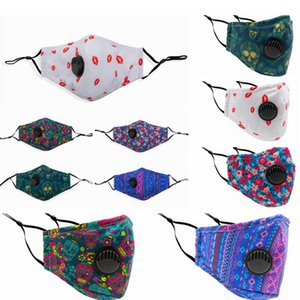Printed PM2.5 Face Masks With Breathable Valve Washable Dustproof Adjustable Mask Printing Cotton Face Mouth Masks RRA3342