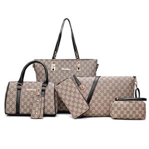 6PCS / 세트 디자이너 가방 여성 핸드백 패션 클러치 핸드백 가방 크로스 바디 백 여성 메신저 어깨 가방 지갑 토트 격자