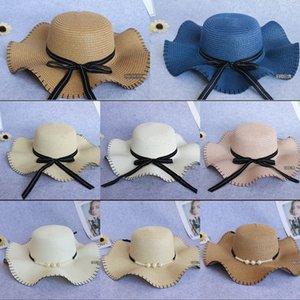 Toque şerit kenar Kadın vizör döşenme güneş Straw güneş şapkası (da yan dalga kap Koreli dış turizm alanı paragraf hasır şapka