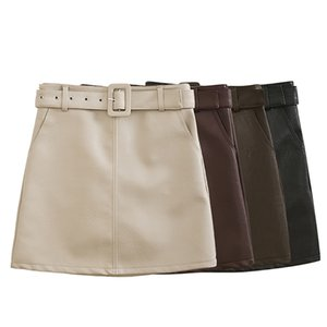 Leather short skirt women 2020 autumn new PU leather skirt high waist slim with belt