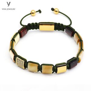 U Luxury Gold -Color Men Bracelet Golden Tiger Eyes Square Beads &Pave Setting Beads Braided Macrame Bracelet Jewelry For Men Gift